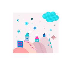 Snowfall house snowflake winter christmas season vector