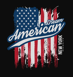 T-shirt graphic design with american flag and vector