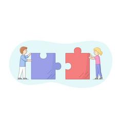 Teamwork business metaphor and collaboration vector