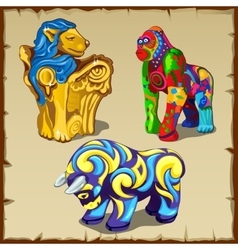 Three animals figures with original colorful paint vector