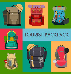 tourist camping backpack banner card travel vector image