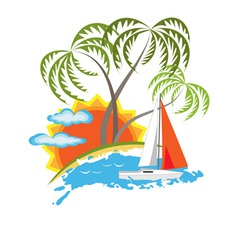 tropical island and sailboat vector image