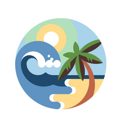 tropical round emblem vector image