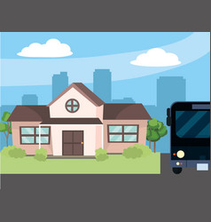 urban house cartoon vector image
