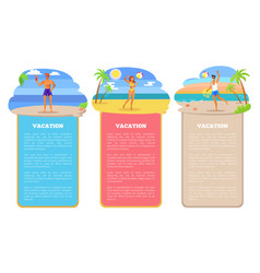 Vacation in tropical country near sea posters set vector