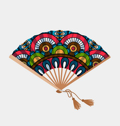 Vintage floral ornament asian fan vector