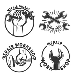 Vintage repair workshop emblems vector image