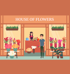 Woman seller at flower shop with bouquet vector