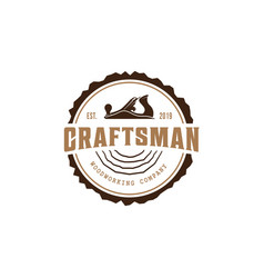 wood work logo design template vector image