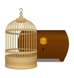 Wooden cage and casket vector image