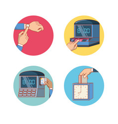 Work time set icons vector