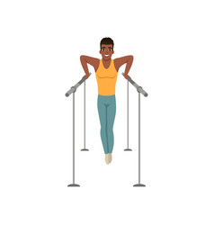 Young gymnast perform on parallel bars cartoon vector
