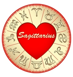 Zodiac sign Sagittarius for lovers on Valentine vector