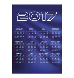 2017 simple business wall calendar blue color vector image vector image