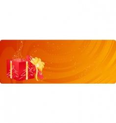 Christmas banner with magic box vector image