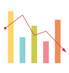 declining bar chart with arrow going down vector image vector image