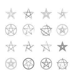 monochrome icon set with pentagrams vector image