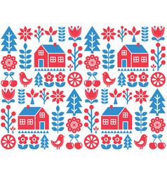 nordic scandinavian folk art seamless pattern vector image