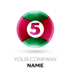 Realistic number five symbol in colorful circle vector