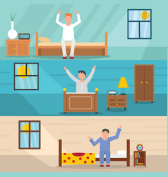 wake up happy banner horizontal set flat style vector image