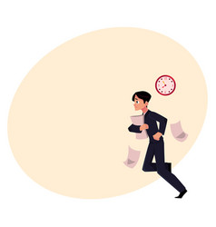 businessman hurrying to work holding papers vector image vector image