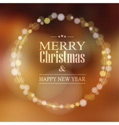 Christmas greeting card with bokeh lights wreath vector image