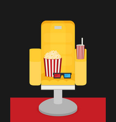 Cinema chair with popcorn soda vector