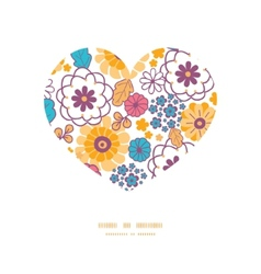 colorful oriental flowers heart silhouette vector image vector image