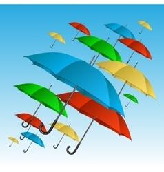 Colorful umbrellas flying high vector