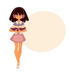 Little Asian girl in headphones walking and vector image