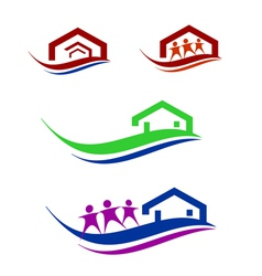 people and home logo set vector image vector image