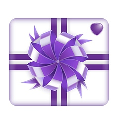 Purple gift box with heart on it isolated on white vector image