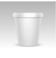 white bucket container for dessert ice cream vector image