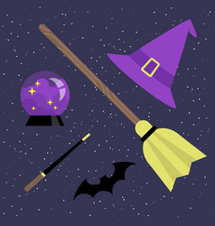 witch set broomstick hat magic ball bat and magic vector image vector image