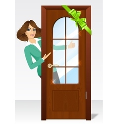 woman behind the door vector image vector image
