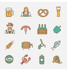 Beer icons set flat line vector image