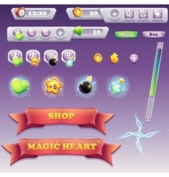 Big set of interface elements for computer games vector image