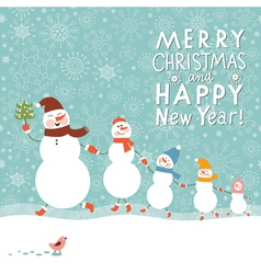 Family of cute snowmen vector image vector image