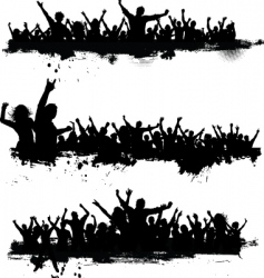 grunge crowd vector image vector image