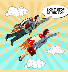 Pop art businessman and woman flying on rockets vector