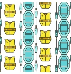 Rafting equipment seamless pattern Outdoors style vector image vector image