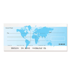 bank cheque world vector image vector image