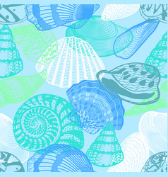 Colorful underwater ocean life seamless pattern vector
