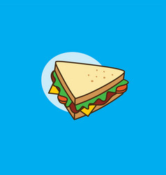 Delicious yummy sandwich for breakfast cartoon vector