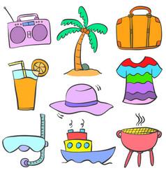 Doodle of cartoon object summer vector