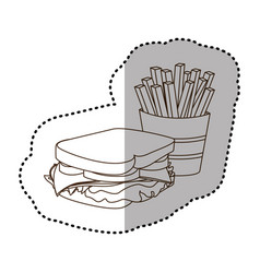 figure sandwich with fries french icon vector image
