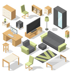 furniture set for bed room isometric vector image