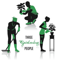 gardening people silhouettes vector image vector image