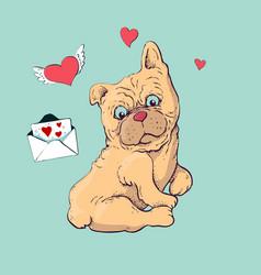 happy cartoon puppy sitting portrait of cute vector image vector image