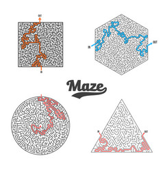 maze set isolated labyrinth game puzzle vector image